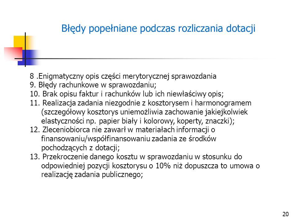 20 Błędy popełniane podczas rozliczania dotacji 8.Enigmatyczny opis części merytorycznej sprawozdania 9.