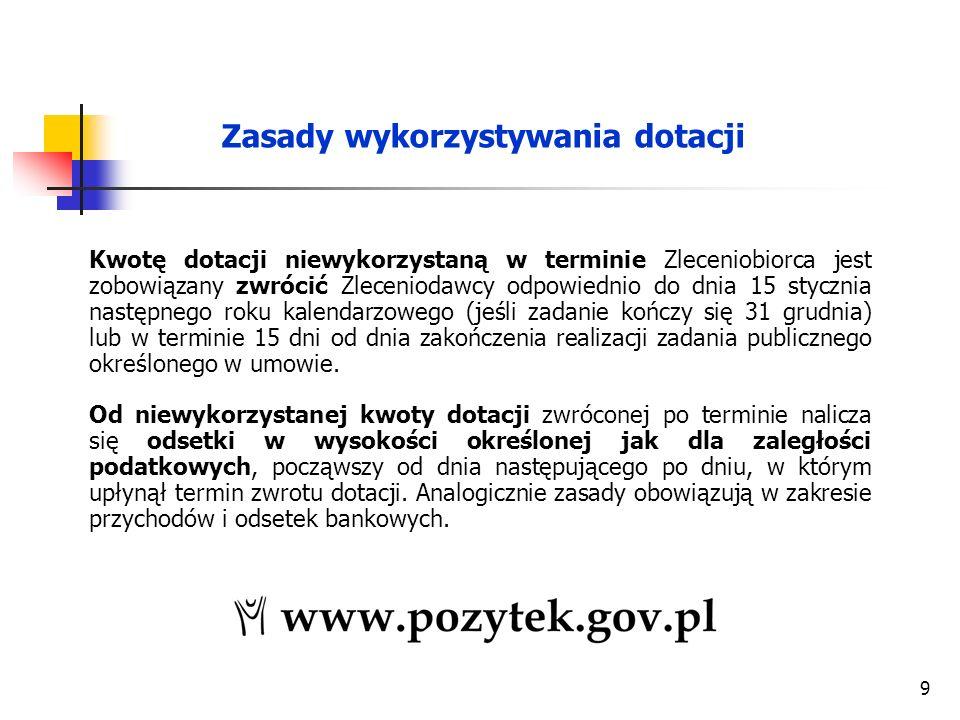 9 Kwotę dotacji niewykorzystaną w terminie Zleceniobiorca jest zobowiązany zwrócić Zleceniodawcy odpowiednio do dnia 15 stycznia następnego roku kalendarzowego (jeśli zadanie kończy się 31 grudnia) lub w terminie 15 dni od dnia zakończenia realizacji zadania publicznego określonego w umowie.