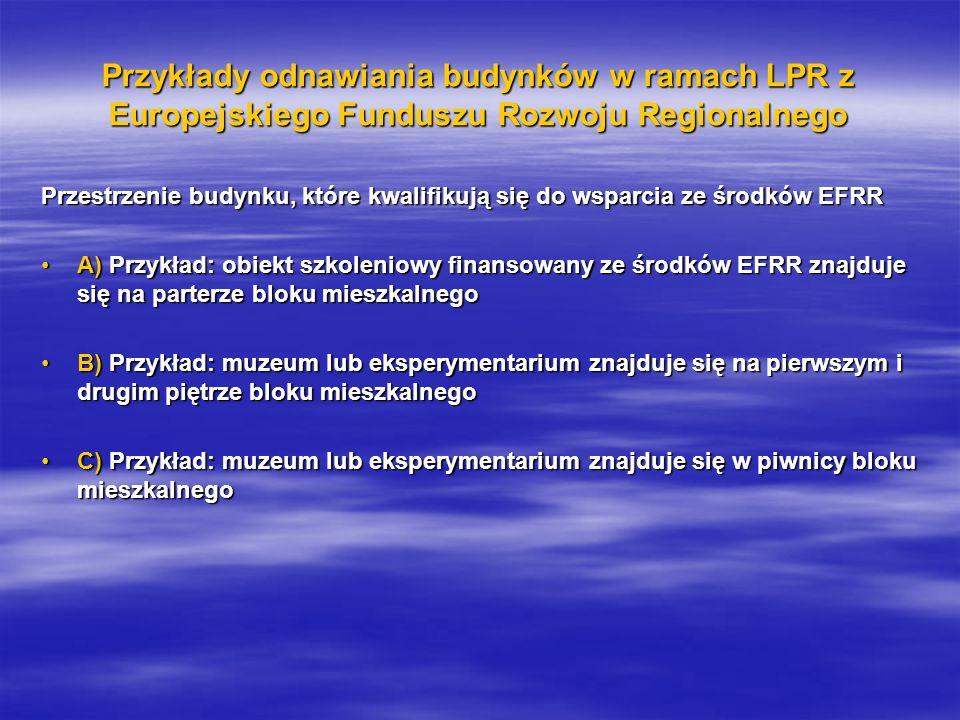 Przykłady odnawiania budynków w ramach LPR z Europejskiego Funduszu Rozwoju Regionalnego Przestrzenie budynku, które kwalifikują się do wsparcia ze środków EFRR A) Przykład: obiekt szkoleniowy finansowany ze środków EFRR znajduje się na parterze bloku mieszkalnegoA) Przykład: obiekt szkoleniowy finansowany ze środków EFRR znajduje się na parterze bloku mieszkalnego B) Przykład: muzeum lub eksperymentarium znajduje się na pierwszym i drugim piętrze bloku mieszkalnegoB) Przykład: muzeum lub eksperymentarium znajduje się na pierwszym i drugim piętrze bloku mieszkalnego C) Przykład: muzeum lub eksperymentarium znajduje się w piwnicy bloku mieszkalnegoC) Przykład: muzeum lub eksperymentarium znajduje się w piwnicy bloku mieszkalnego