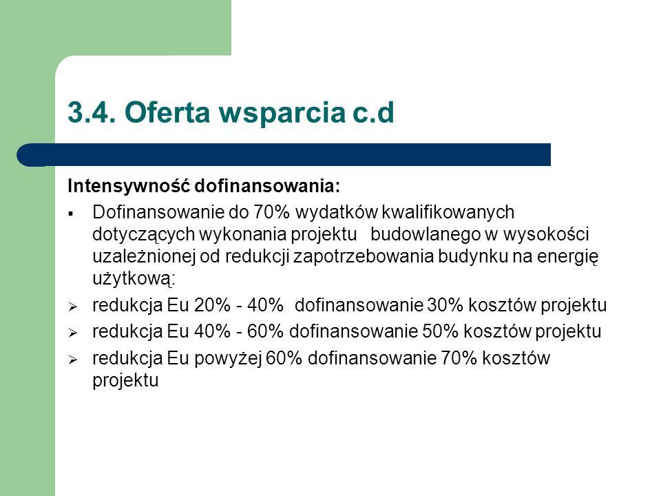 3.4. Oferta wsparcia c.d Intensywność dofinansowania:  Dofinansowanie do 70% wydatków kwalifikowanych dotyczących wykonania projektu budowlanego w wy