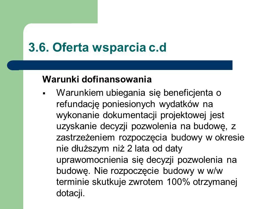 3.6. Oferta wsparcia c.d Warunki dofinansowania  Warunkiem ubiegania się beneficjenta o refundację poniesionych wydatków na wykonanie dokumentacji pr