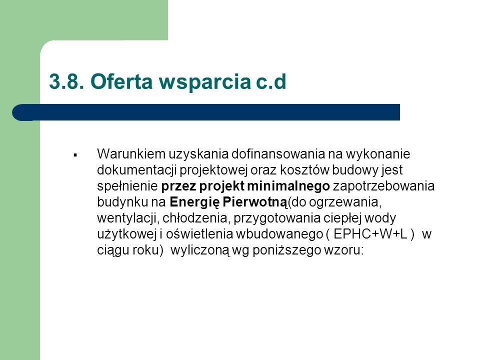 3.8. Oferta wsparcia c.d  Warunkiem uzyskania dofinansowania na wykonanie dokumentacji projektowej oraz kosztów budowy jest spełnienie przez projekt