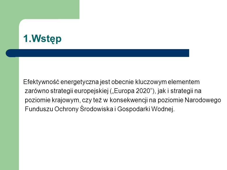 """1.Wstęp Efektywność energetyczna jest obecnie kluczowym elementem zarówno strategii europejskiej (""""Europa 2020 ), jak i strategii na poziomie krajowym, czy też w konsekwencji na poziomie Narodowego Funduszu Ochrony Środowiska i Gospodarki Wodnej."""