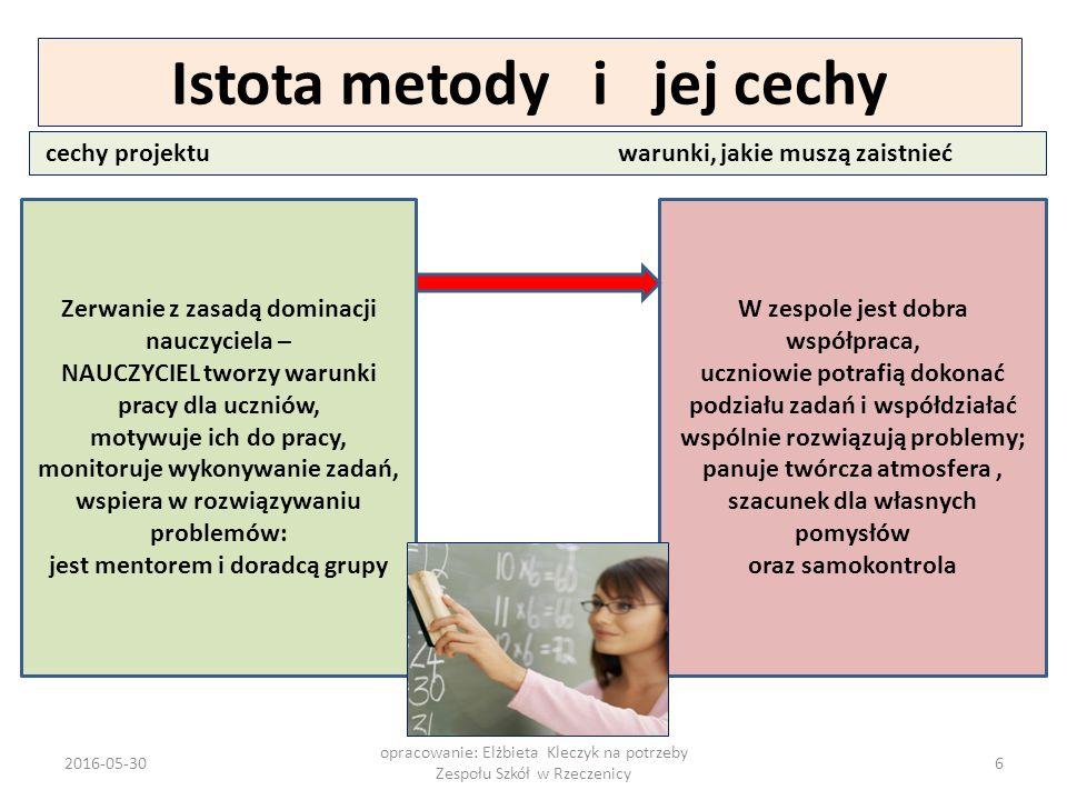 2016-05-30 opracowanie: Elżbieta Kleczyk na potrzeby Zespołu Szkół w Rzeczenicy 37 Wiemy, jakie zadania wykonuje uczeń w realizacji projektu edukacyjnego.