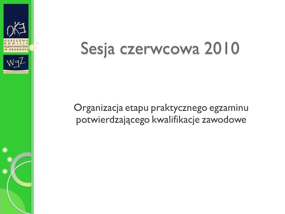 Sesja czerwcowa 2010 Organizacja etapu praktycznego egzaminu potwierdzającego kwalifikacje zawodowe