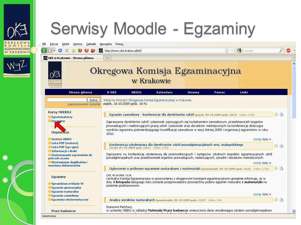 Serwisy Moodle - Egzaminy