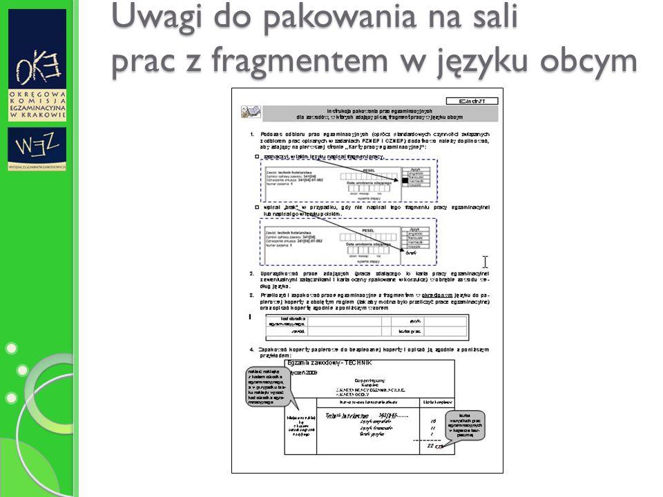 Uwagi do pakowania na sali prac z fragmentem w języku obcym
