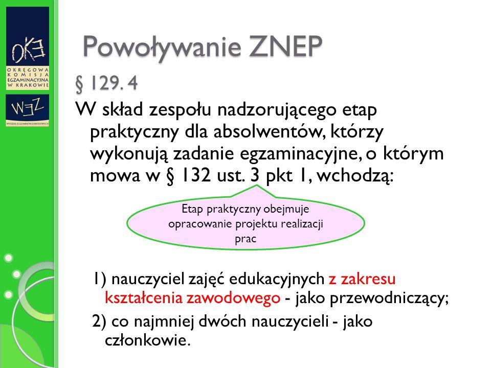 Powoływanie ZNEP § 129.