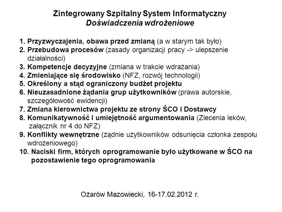 Główne problemy związane z wdrożeniem Ożarów Mazowiecki, 16-17.02.2012 r.