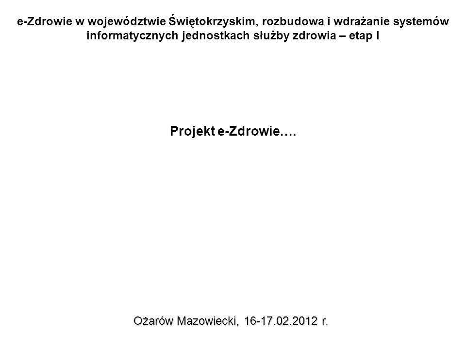 e-Zdrowie w województwie Świętokrzyskim, rozbudowa i wdrażanie systemów informatycznych jednostkach służby zdrowia – etap I Ożarów Mazowiecki, 16-17.02.2012 r.