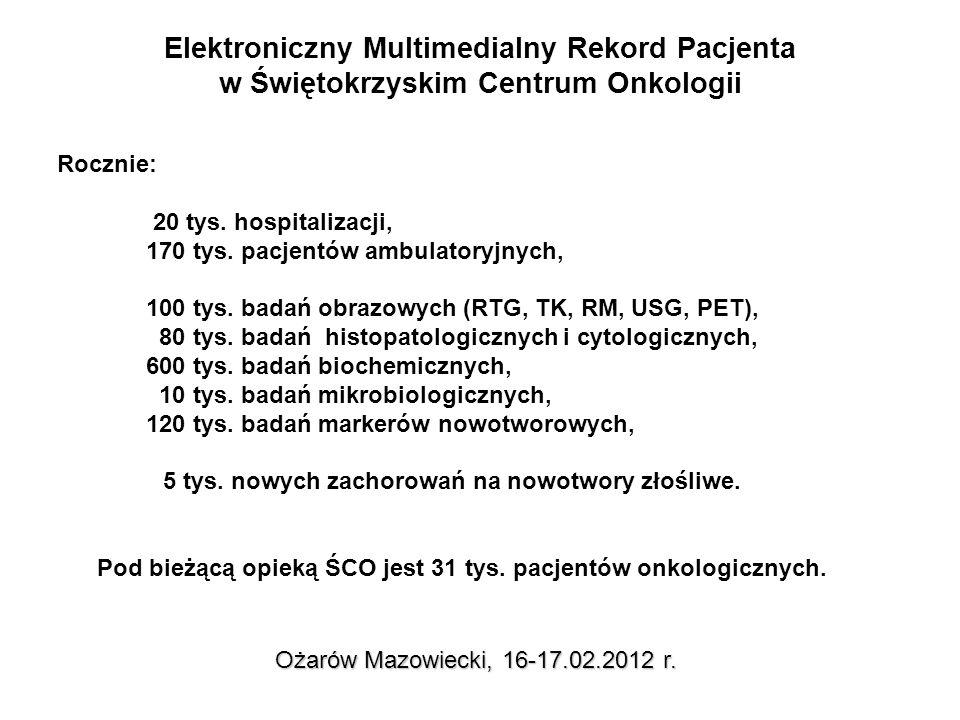 Elektroniczny Multimedialny Rekord Pacjenta zakres informacyjny Ożarów Mazowiecki, 16-17.02.2012 r.
