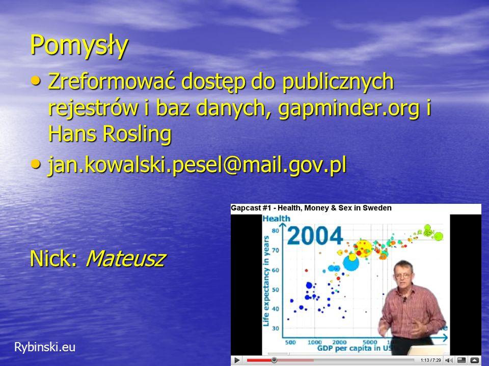 Rybinski.eu Pomysły Zreformować dostęp do publicznych rejestrów i baz danych, gapminder.org i Hans Rosling Zreformować dostęp do publicznych rejestrów i baz danych, gapminder.org i Hans Rosling jan.kowalski.pesel@mail.gov.pl jan.kowalski.pesel@mail.gov.pl Nick: Mateusz 37
