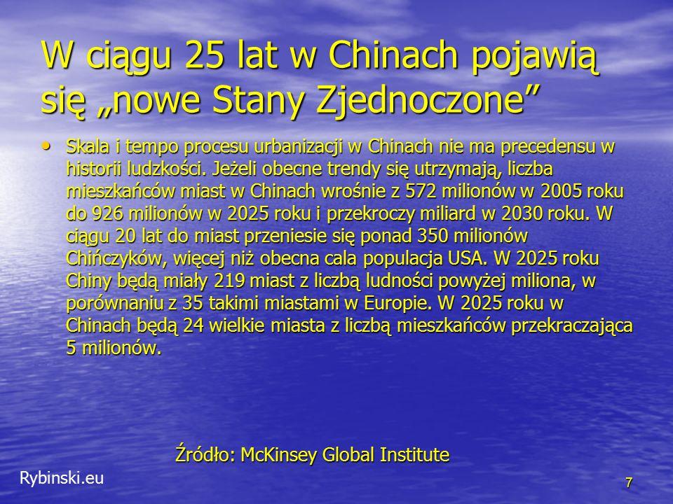 """Rybinski.eu W ciągu 25 lat w Chinach pojawią się """"nowe Stany Zjednoczone"""" Skala i tempo procesu urbanizacji w Chinach nie ma precedensu w historii lud"""