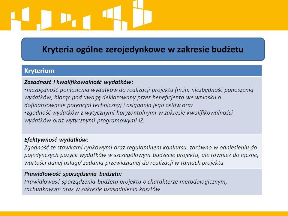 Kryteria ogólne zerojedynkowe w zakresie budżetu Kryterium Zasadność i kwalifikowalność wydatków: niezbędność poniesienia wydatków do realizacji projektu (m.in.