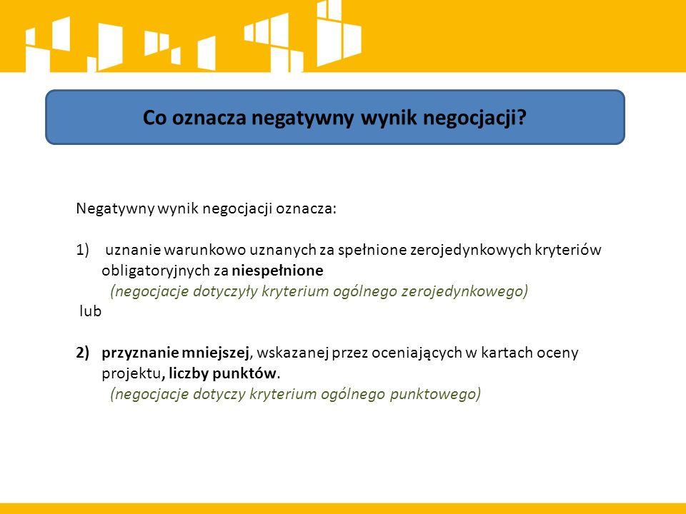 Co oznacza negatywny wynik negocjacji.