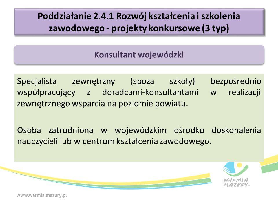 Poddziałanie 2.4.1 Rozwój kształcenia i szkolenia zawodowego - projekty konkursowe (3 typ) Specjalista zewnętrzny (spoza szkoły) bezpośrednio współpracujący z doradcami-konsultantami w realizacji zewnętrznego wsparcia na poziomie powiatu.