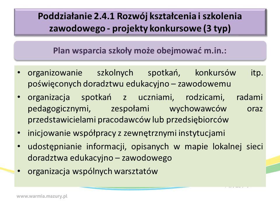 Poddziałanie 2.4.1 Rozwój kształcenia i szkolenia zawodowego - projekty konkursowe (3 typ) organizowanie szkolnych spotkań, konkursów itp. poświęconyc