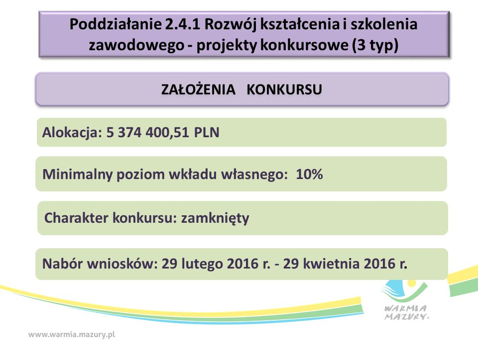 Poddziałanie 2.4.1 Rozwój kształcenia i szkolenia zawodowego - projekty konkursowe (3 typ) ZAŁOŻENIA KONKURSU Alokacja: 5 374 400,51 PLN Charakter konkursu: zamknięty Nabór wniosków: 29 lutego 2016 r.