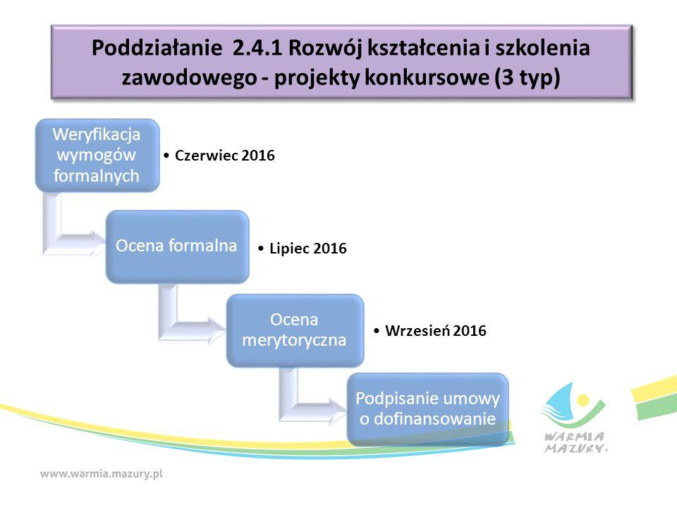 Weryfikacja wymogów formalnych Czerwiec 2016 Ocena formalna Lipiec 2016 Ocena merytoryczna Wrzesień 2016 Podpisanie umowy o dofinansowanie Poddziałanie 2.4.1 Rozwój kształcenia i szkolenia zawodowego - projekty konkursowe (3 typ)
