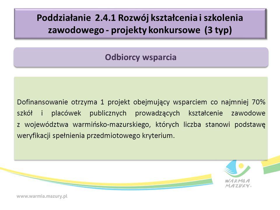 Poddziałanie 2.4.1 Rozwój kształcenia i szkolenia zawodowego - projekty konkursowe (3 typ) Dofinansowanie otrzyma 1 projekt obejmujący wsparciem co na