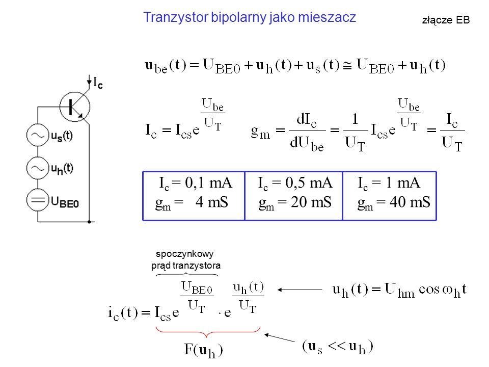 Tranzystor bipolarny jako mieszacz złącze EB I c = 0,1 mA I c = 0,5 mA I c = 1 mA g m = 4 mS g m = 20 mS g m = 40 mS spoczynkowy prąd tranzystora