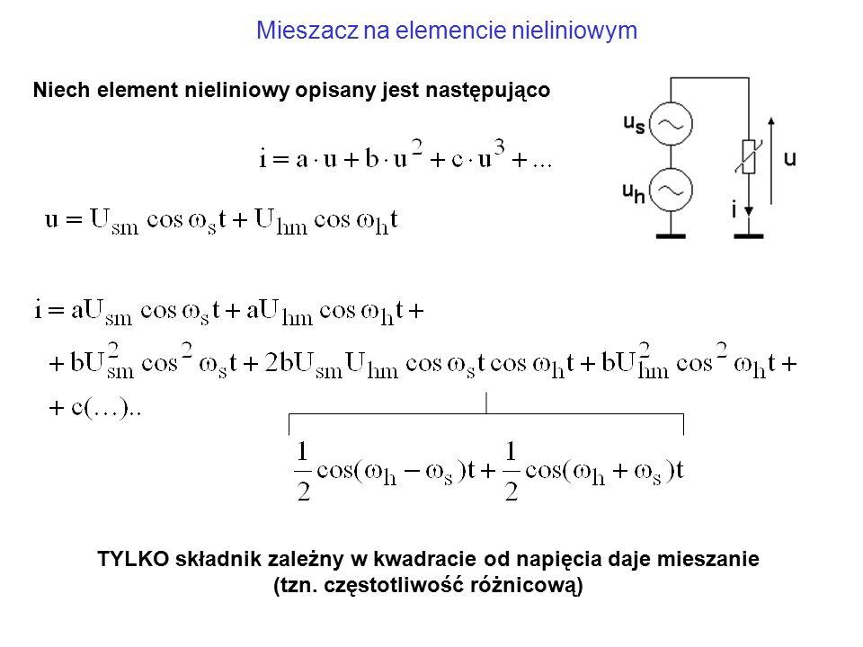 Mieszacz na elemencie nieliniowym Niech element nieliniowy opisany jest następująco TYLKO składnik zależny w kwadracie od napięcia daje mieszanie (tzn