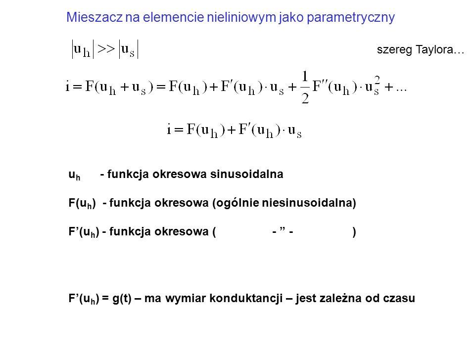"""u h - funkcja okresowa sinusoidalna F(u h ) - funkcja okresowa (ogólnie niesinusoidalna) F'(u h ) - funkcja okresowa ( - """" - ) F'(u h ) = g(t) – ma wy"""