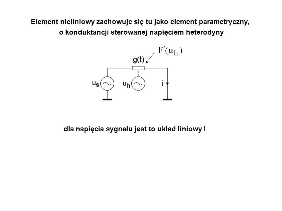 Element nieliniowy zachowuje się tu jako element parametryczny, o konduktancji sterowanej napięciem heterodyny dla napięcia sygnału jest to układ liniowy !