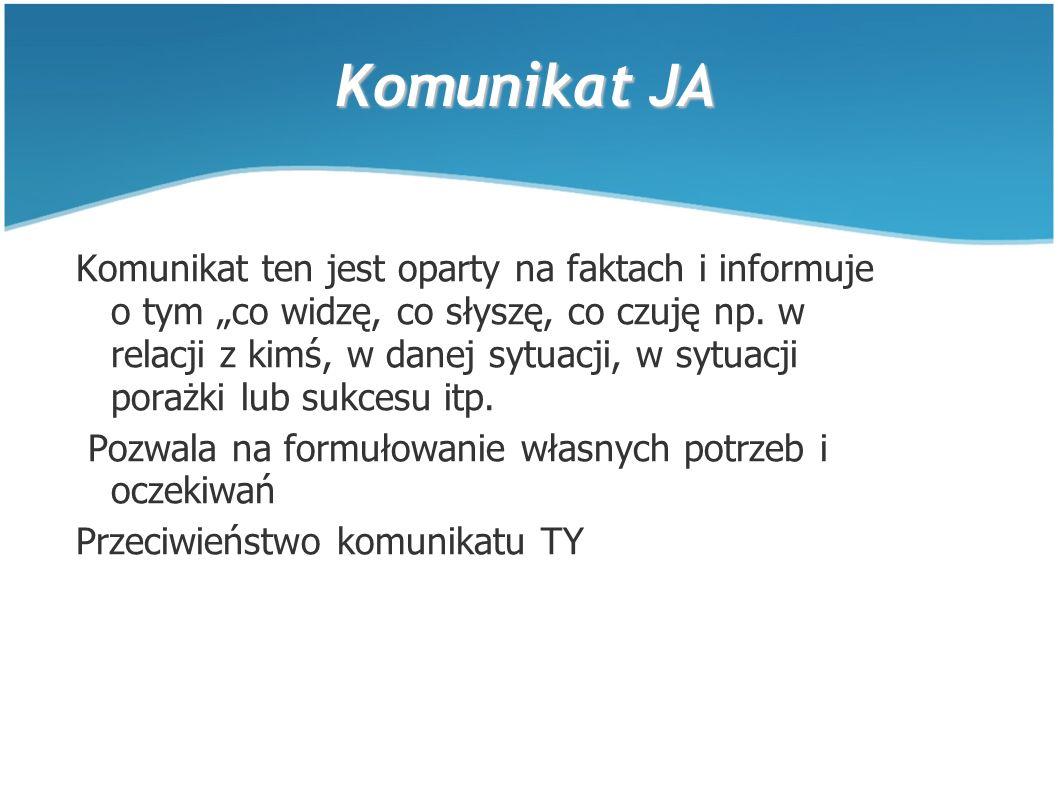 """Komunikat JA Komunikat ten jest oparty na faktach i informuje o tym """"co widzę, co słyszę, co czuję np."""