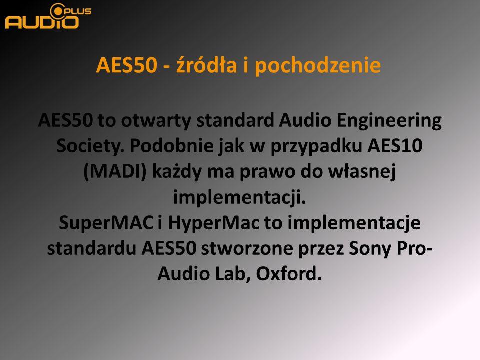 AES50 – kilka podstawowych informacji Pracuje na fizycznej warstwie sieci EtherNet: wykorzystuje te same kable i złącza (Cat5e/Cat6e + RJ45) Każde połączenie jest dwustronne Przesyła sygnał audio, sygnał sterujący i sygnał synchronizujący PIN 1White/OrangeAudio Trans + PIN 2OrangeAudio Trans - PIN 3White/GreenAudio Rec + PIN 4BlueSync Trans + PIN 5White/BlueSync Trans - PIN 6GreenAudio Rec - PIN 7White/BrownSync Rec + PIN 8BrownSync Rec -