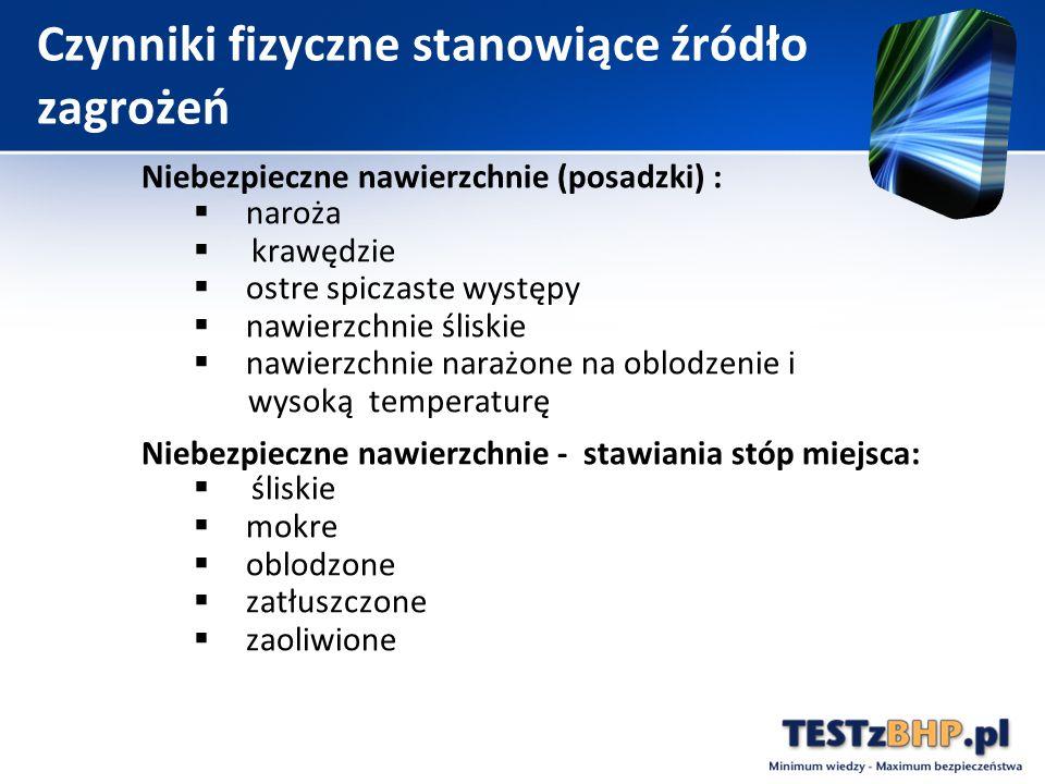 Niebezpieczne nawierzchnie (posadzki) :  naroża  krawędzie  ostre spiczaste występy  nawierzchnie śliskie  nawierzchnie narażone na oblodzenie i