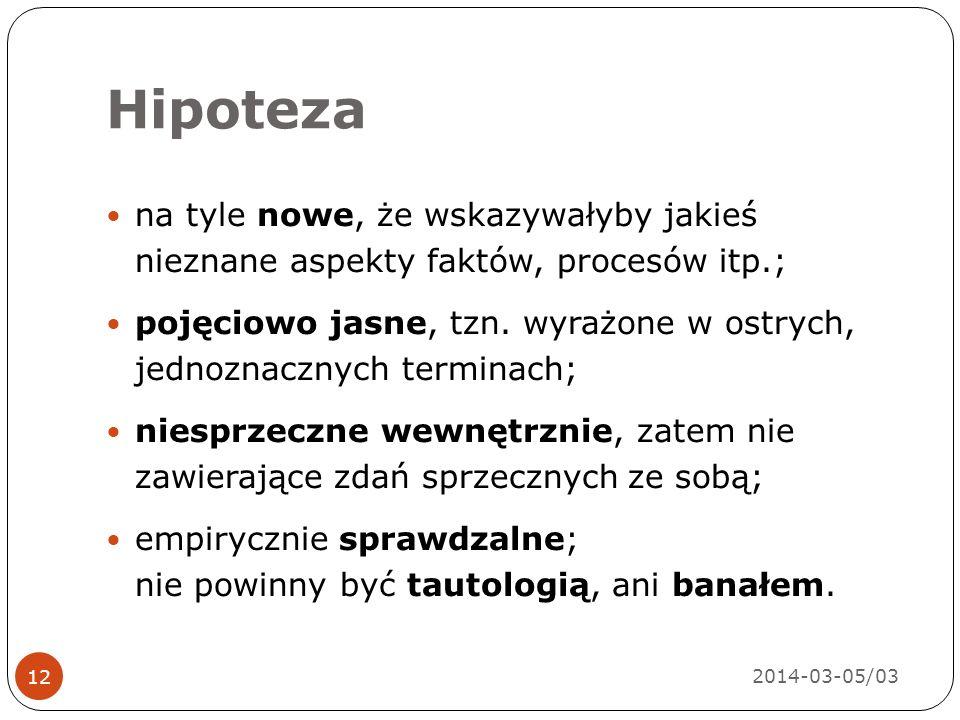 Hipoteza 2014-03-05/03 12 na tyle nowe, że wskazywałyby jakieś nieznane aspekty faktów, procesów itp.; pojęciowo jasne, tzn.