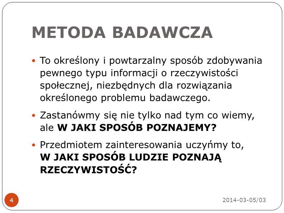 METODA BADAWCZA 2014-03-05/03 4 To określony i powtarzalny sposób zdobywania pewnego typu informacji o rzeczywistości społecznej, niezbędnych dla rozwiązania określonego problemu badawczego.
