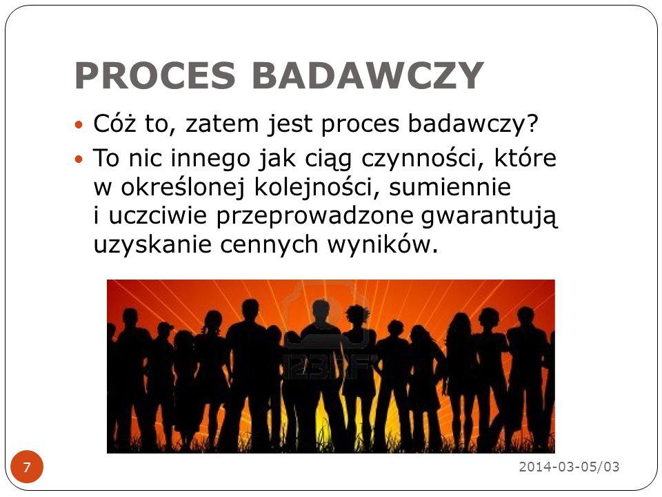 PROCES BADAWCZY Teoria Problem Hipotezy PomiarAnaliza Uogólnie- nia 2014-03-05/03 8