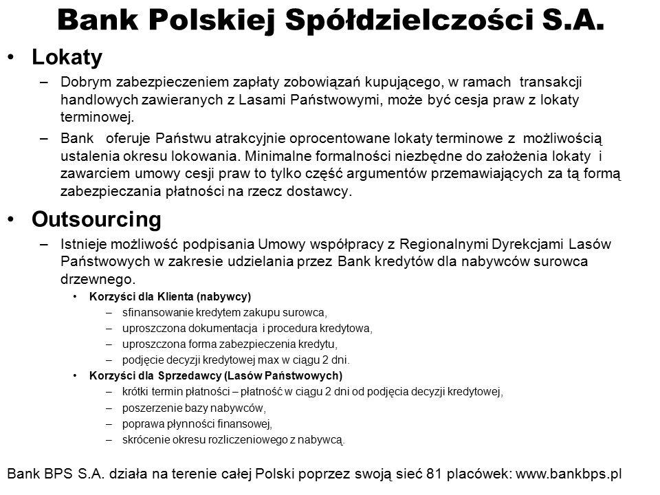 Bank Polskiej Spółdzielczości S.A. Lokaty –Dobrym zabezpieczeniem zapłaty zobowiązań kupującego, w ramach transakcji handlowych zawieranych z Lasami P