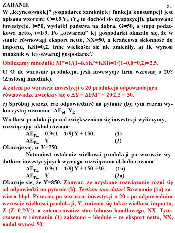 81 d) Ile wynosi wielkość produkcji, Y, przy której bilans handlowy jest zrównoważony.