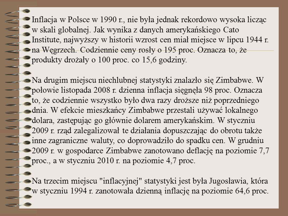 Inflacja w Polsce w 1990 r., nie była jednak rekordowo wysoka licząc w skali globalnej.