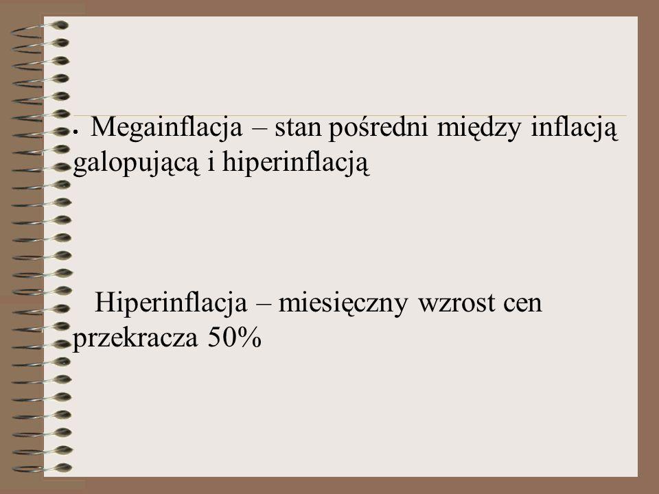  Megainflacja – stan pośredni między inflacją galopującą i hiperinflacją Hiperinflacja – miesięczny wzrost cen przekracza 50%