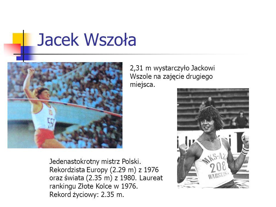 Jacek Wszoła 2,31 m wystarczyło Jackowi Wszole na zajęcie drugiego miejsca. Jedenastokrotny mistrz Polski. Rekordzista Europy (2.29 m) z 1976 oraz świ