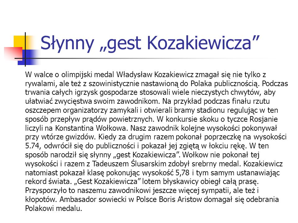 """Słynny """"gest Kozakiewicza"""" W walce o olimpijski medal Władysław Kozakiewicz zmagał się nie tylko z rywalami, ale też z szowinistycznie nastawioną do P"""