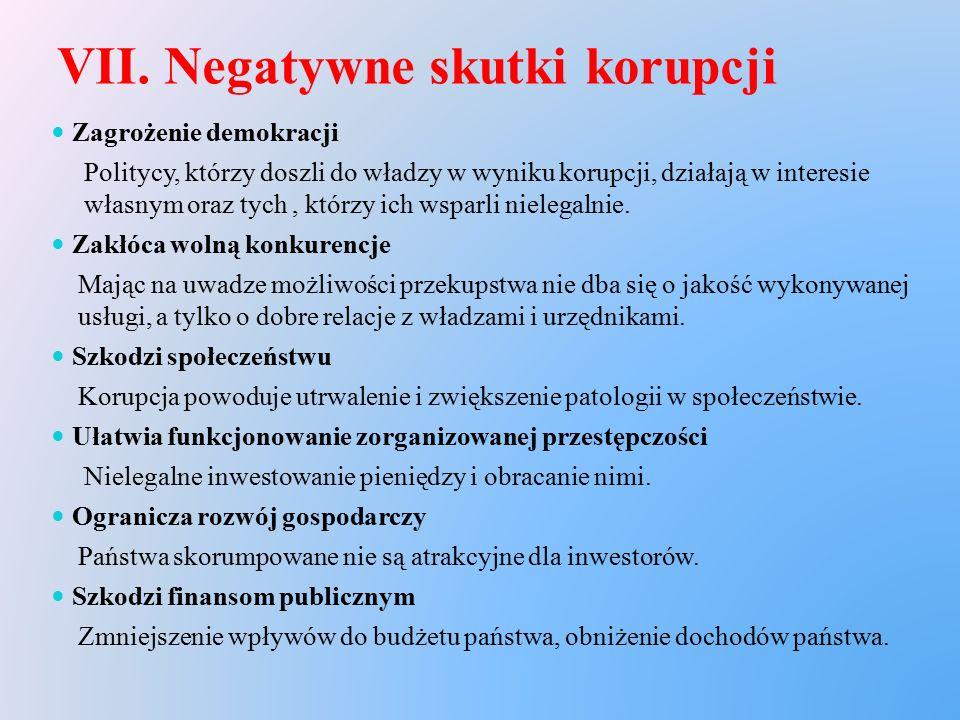 VII. Negatywne skutki korupcji Zagrożenie demokracji Politycy, którzy doszli do władzy w wyniku korupcji, działają w interesie własnym oraz tych, któr