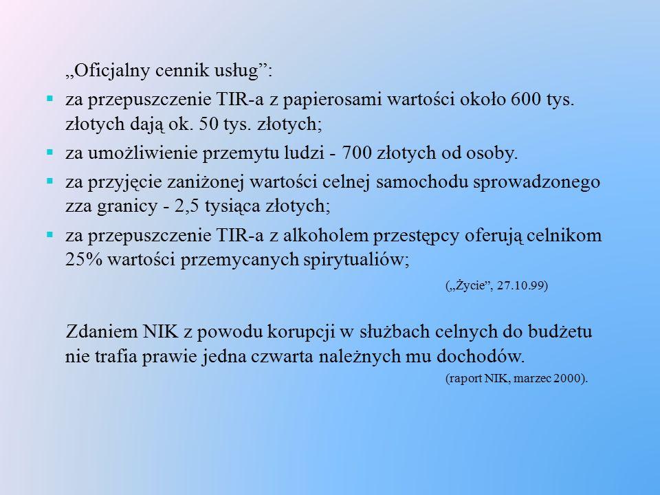 """""""Oficjalny cennik usług"""":  za przepuszczenie TIR-a z papierosami wartości około 600 tys. złotych dają ok. 50 tys. złotych;  za umożliwienie przemytu"""