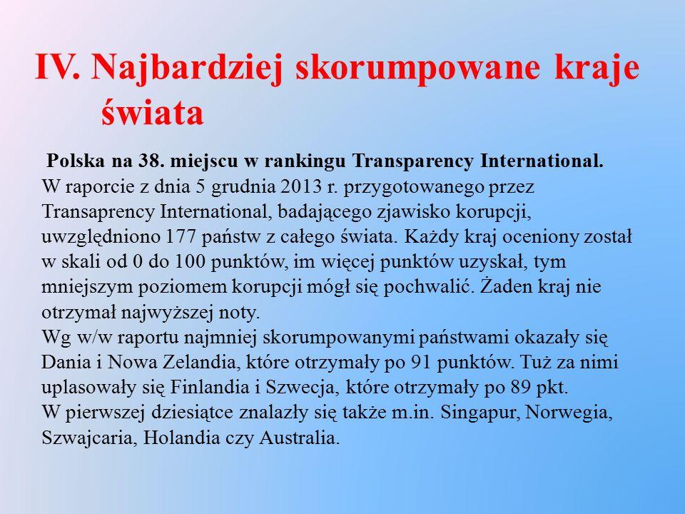 IV. Najbardziej skorumpowane kraje świata Polska na 38. miejscu w rankingu Transparency International. W raporcie z dnia 5 grudnia 2013 r. przygotowan