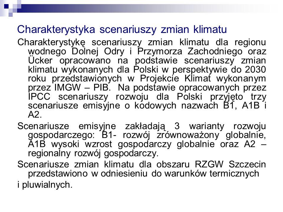 Charakterystyka scenariuszy zmian klimatu Charakterystykę scenariuszy zmian klimatu dla regionu wodnego Dolnej Odry i Przymorza Zachodniego oraz Ücker opracowano na podstawie scenariuszy zmian klimatu wykonanych dla Polski w perspektywie do 2030 roku przedstawionych w Projekcie Klimat wykonanym przez IMGW – PIB.