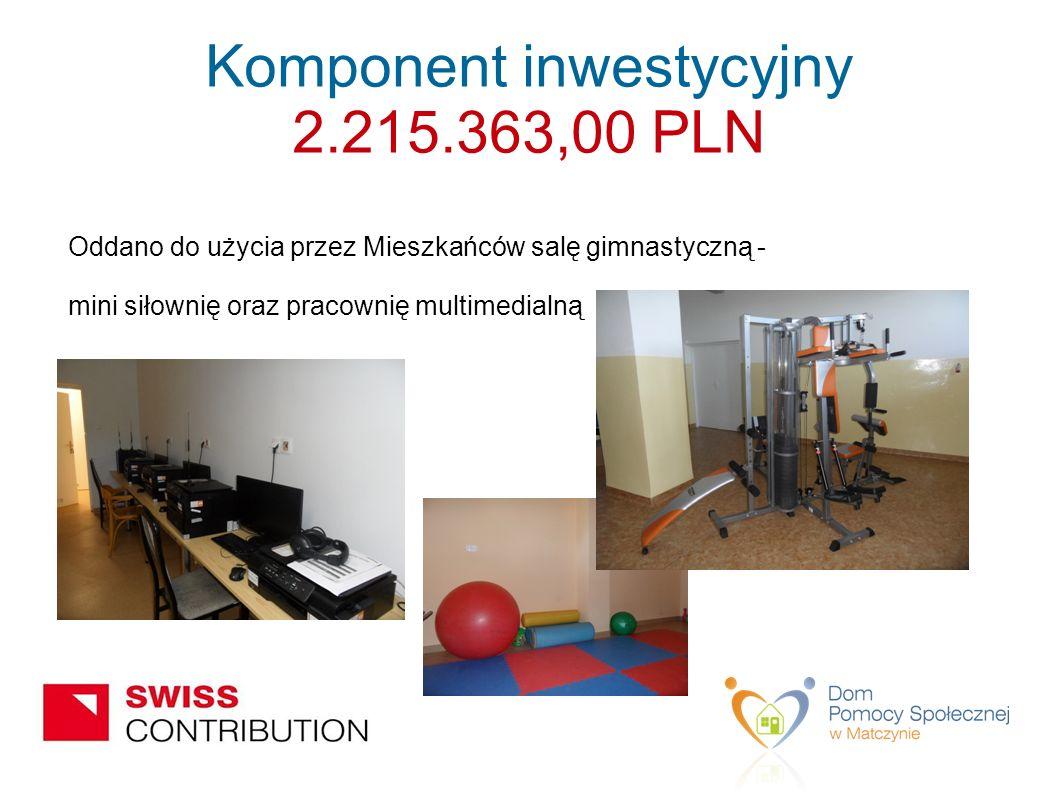 Oddano do użycia przez Mieszkańców salę gimnastyczną - mini siłownię oraz pracownię multimedialną Komponent inwestycyjny 2.215.363,00 PLN