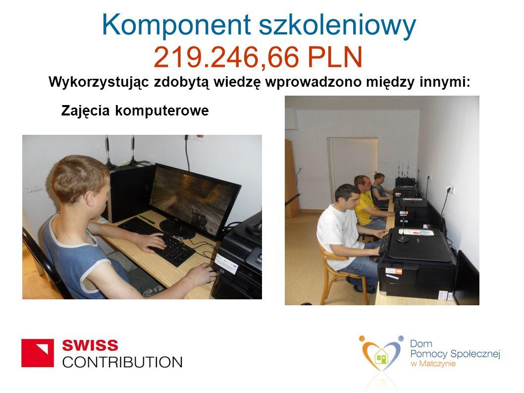 Wykorzystując zdobytą wiedzę wprowadzono między innymi: Zajęcia komputerowe Komponent szkoleniowy 219.246,66 PLN