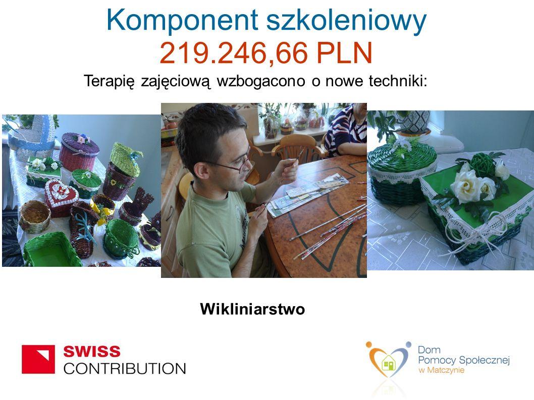 Terapię zajęciową wzbogacono o nowe techniki: Wikliniarstwo Komponent szkoleniowy 219.246,66 PLN