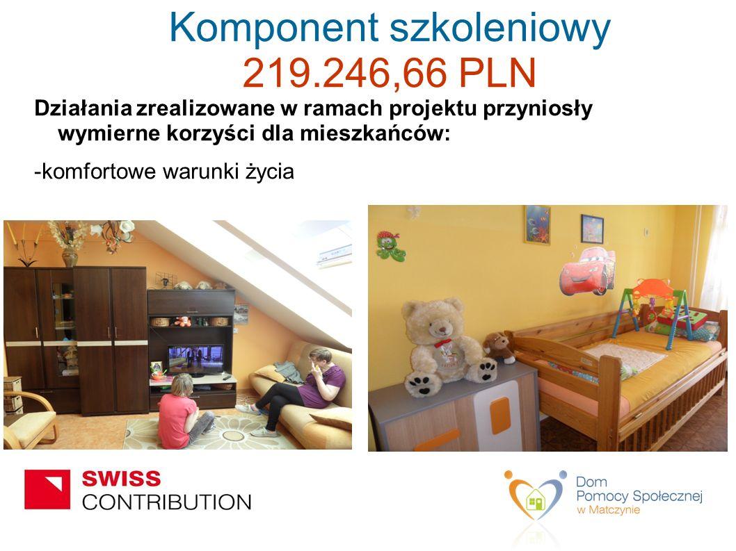 Działania zrealizowane w ramach projektu przyniosły wymierne korzyści dla mieszkańców: -komfortowe warunki życia Komponent szkoleniowy 219.246,66 PLN