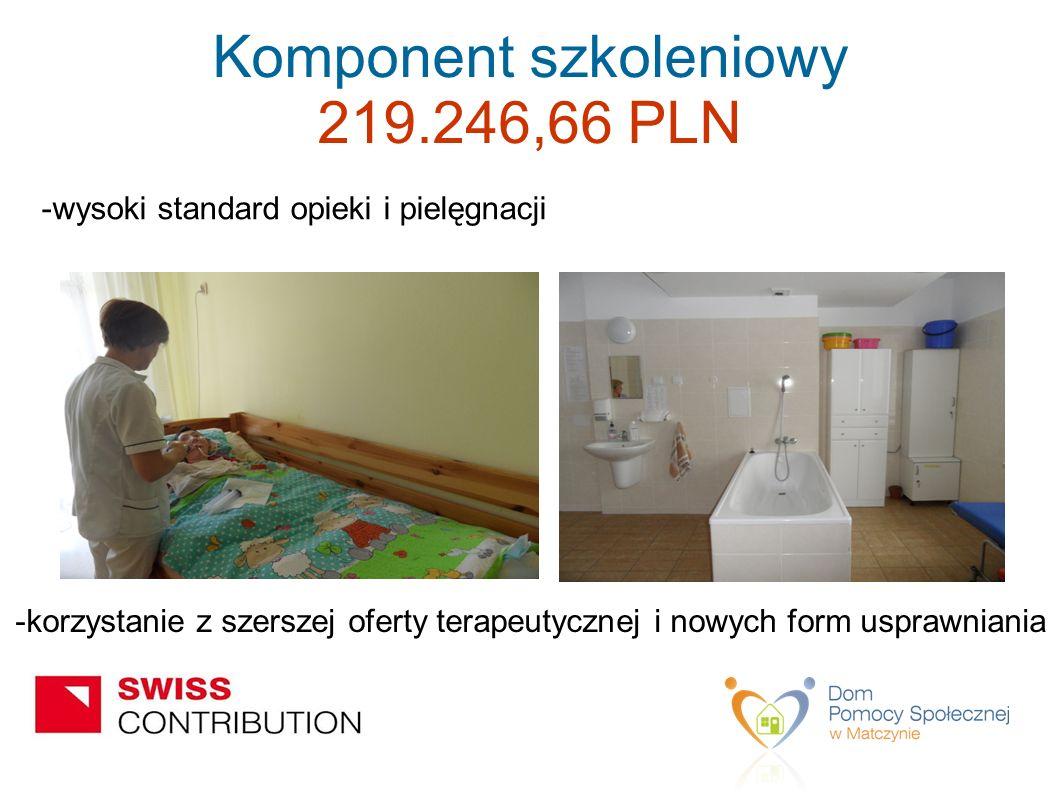 -wysoki standard opieki i pielęgnacji -korzystanie z szerszej oferty terapeutycznej i nowych form usprawniania Komponent szkoleniowy 219.246,66 PLN