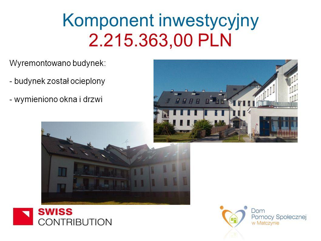 Wyremontowano budynek: - budynek został ocieplony - wymieniono okna i drzwi Komponent inwestycyjny 2.215.363,00 PLN